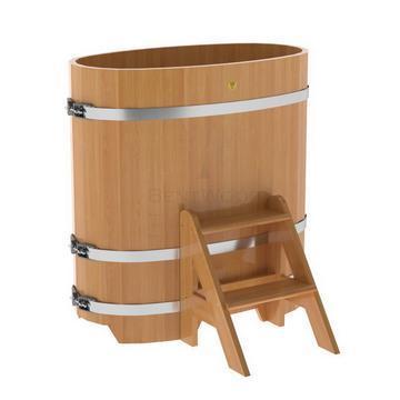 Купель для бани из лиственницы овальная 0,59х1,06 м (натуральная, полимерное покрытие, H = 1,2 м)